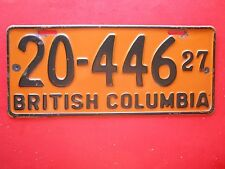 1927 British Columbia Passenger High Quality license plate