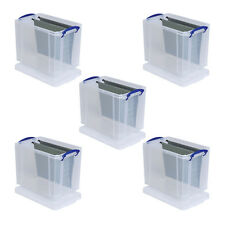 """5 x 19 LITRE REALLY USEFUL PLASTIC STORAGE BOXES CAN HOLD 12"""" RECORDS +24h DEL"""