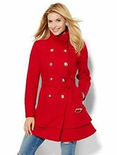 NEW YORK AND COMPANY RED RUFFLED HEM WOOL BLEND BELTED COAT SZ L LARGE