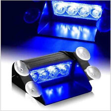Blue LED Car Emergency Warning Dashboard Dash Visor Police Strobe Lights Lamp