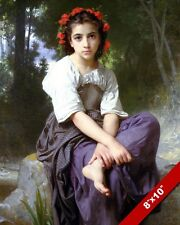 BEAUTIFUL YOUNG GIRL FLOWERS IN HAIR FINE ART PAINTING REAL CANVAS GICLEE PRINT