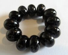 12 BLACK SPECKLED FRIT LAMPWORK BEADS  SRA