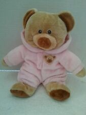 """TY  Pluffies Teddy Bear Pink Non-Removable Pj's 10"""" Plush SOFT!"""
