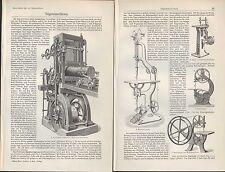 Lithografie 1907: SÄGEMASCHINEN. Maschinen sägen hobeln Holz Technik Kirchner