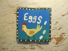 Chicken Eggs FOLK ART tiny Painting outsider wall Art ACEO ~ DIRECT From ARTIST