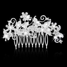 Crystal Diamante Silver Bridal Wedding Prom Butterfly Hair Comb Clip