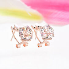 New Girls White Crystal Rhinestone 18K Gold Plated Clip-On Ear Stud Earrings Hot