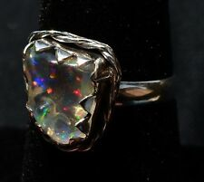 CRYSTAL FIRE OPAL TRANSPARENT RAINBOW Sterling Silver Ring Jewelry Taxco Mexican