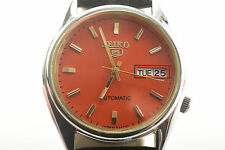 Seiko 5 Automatic Mens Wrist Watch, Orange Face, Black Leather Band (V3876)