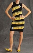 MOSCHINO COUTURE UK6 US4 IT38 BLACK YELLOW TAPE MEASURE CASHMERE WOOL DRESS