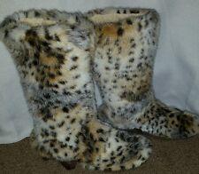 Women's Mammoth yeti eskimo mukluk cheetah fur fluffy winter  boots size 7