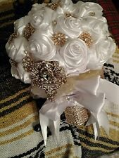 Glam White Satin Rose Brooch Wedding  Bouquet