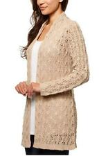 NEW Leo & Nicole Women's Open Front Long Pointelle Cardigan Sweater Tan Linen S