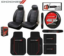 9Pc Dodge Elite Seat Covers, Steering Wheel Cover & Front/Rear Rubber Floor Mats