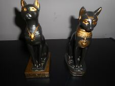 Set of 2 Egyptian Bastet Cat Figurines/Bookends - Black and Gold