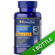 Puritan's Pride Double Strength Glucosamine &MSM 1500MG 60Caps Ultra Omega 3/6/9