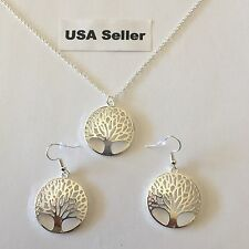 New Women's Tree Of Life Pendant Necklace And Earring Set 925 Sterling Silver