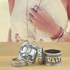 Elephant Boho Ring Set 4 Piece Fashion Rings Perfect Christmas Gift UK Seller