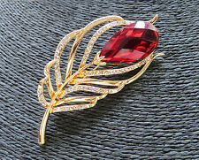 New Hot Fashion Luxury Shiny Peacock Feather with Crystal Rhinestone Gold Brooch