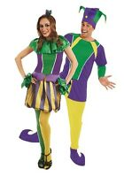 Couples Ladies & Mens Carnival Jester Medieval Fancy Dress Costumes Outfits