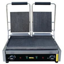Buffalo DM902 Commercial Cafe Bistro Contact Grill Double Ribbed 2.9kW