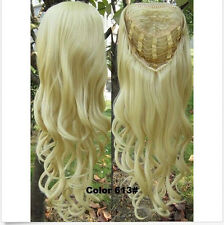 """3/4 Half Wig Clip In on Hair Piece Long Wigs Wavy  22""""  Synthetic #613 blonde"""