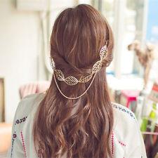 Gold Hollow Leaf Head Chain Tassel Headpiece Hiar Clip Women Hair Accessories