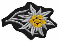 German Army Elite EDELWEISS CAP BADGE Patch Embroidered Hat Insignia - WW2 Repro
