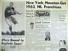 1960 hdlne newspaper NEW YORK METS & HOUSTON TEXANS now NEW NL ML BASEBALL TEAMS