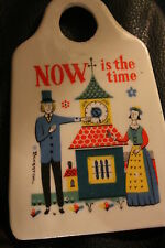 "Vintage BERGGREN Tile cheese grater Trivet Scandinavian  ART ""now is the time"""