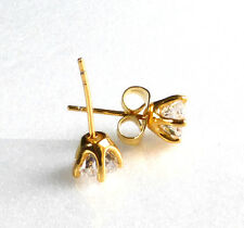 6mm Small Star Clear Cubic Zirconia Stud Earrings 24K Yellow Gold Plated Unisex