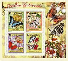 Burundi 2014 MNH Butterflies 4v Deluxe M/S Insects Flowers Fleurs Papillons