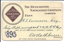 1895 Annual Pass, The Deseronto Navigation Co., Bay of Quinte, Lake Ontario