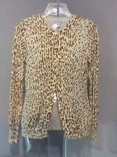 IZOD Anthropologie L/S Knit Animal Print Button Up Cardigan Sweater Top XS