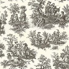 Wallpaper Waverly Designer Country Life Large Toile Black on Off White 564303