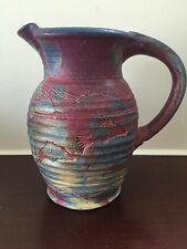 Kennedy Studio Pottery Purple Lavender Fish Sealife Water Cream Pitcher Signed