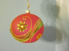 mark roberts glass ball christmas ornament red green gold