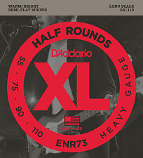 D'ADDARIO ENR73  HALF ROUNDS BASS STRINGS, HEAVY GAUGE 4's  - 55-10