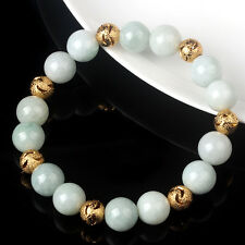 Natural Grade A Jade (jadeite) 10mm Green Bead Bracelet Blessing