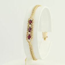 "Ruby & Diamond Double Rope Chain Bracelet 7"" - 14k Yellow Gold July 1.31ctw"