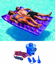 Swimline 9036 Two Person Inflatable Swimming Pool Float Lounger w/ Electric Pump