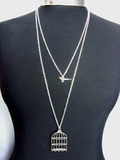 "Bird & Birdcage Charm Double Layered Necklace Minimalist Silver Tone 30"" Chain"