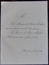 FAIRE PART NAISSANCE, MARQUISE DE MAC-MAHON, 10 AVRIL 1856