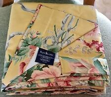 RALPH LAUREN EVELYN YELLOW FLORAL ROD POCKET DRAPES CURTAINS~EUC RIBBONS