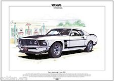 FORD MUSTANG BOSS 302 - Fine Art Print - A3 size - 1969 US American muscle car