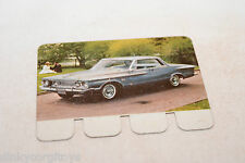 COOP PLAQUETTE METAL CARD 87 PLYMOUTH FURY 1962..