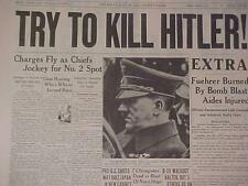VINTAGE NEWSPAPER HEADLINE ~WORLD WAR 2 ASSASSINS BOMB GERMAN NAZI HITLER WWII~