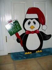 HAND MADE,HAND PAINTED  PENGUIN 29'' x 31'' CHRISTMAS YARD ART DECORATION