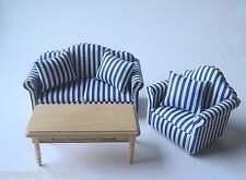 Couchgarnitur Sofa, Sessel, Tisch Puppenhaus Möbel Wohnzimmer Miniatur 1:12