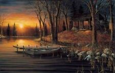 Jim Hansel Simple Pleasures Cabin Lake Print 18 x 10.5 Plus Border